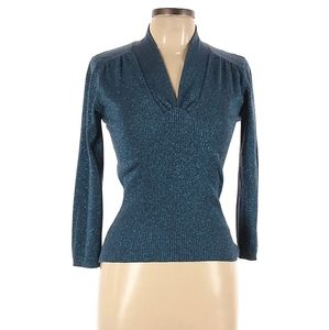 George 3/4 Sleeve Silk Top Blue Shimmer Size Large